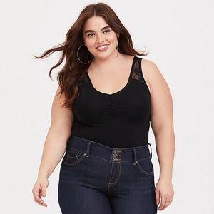 Torrid Foxy Ruched Black Lace Tank NWT